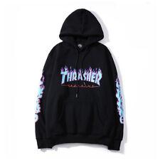 Men Women Pullover Hoodie Thrasher Flame Sweatshirt Hip-hop Skateboard Top Hoody