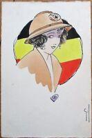 Hand-Drawn/Original Art WWI Belgian Woman/Flag 1919 Artist-Signed Postcard