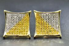 Yellow Diamond Studs 10K Yellow Gold 0.50 CT Pave Pointed Kite Shaped Earrings