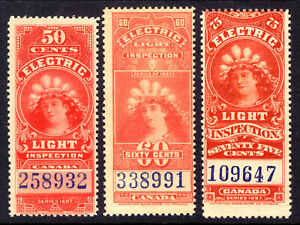 CANADA ELECTRIC LIGHT EFFIGY #FE10-12, 1900 SET/3, VG-F, MINT NH