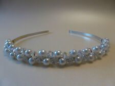 Handmade Swarovski Crystal Elements Tiara Wedding Bridal Sparkly AB Ivory Pearl,