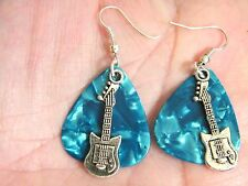 GUITAR PICK EARRINGS BLUE ROCK & ROLL EARRINGS & MINI GUITARS SILVER WIRES NEW!