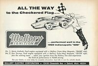 1969 small Print Ad Mallory Ignition All The Way To The Checkered Flag Indy 500