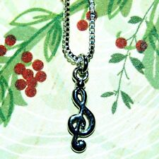 ALPINE ADE DESIGNS SILVER G CLEF MUSIC MUSICIAN NECKLACE H20 USA Made