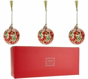 Lenox S/3 Hand Blown Art Glass Ornaments with Gift Box