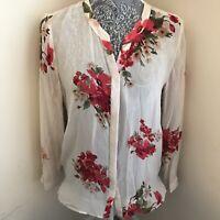 Joie Womens Floral Print Silk Blouse Size M