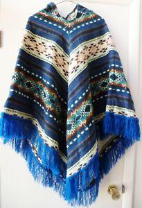 Vintage Hooded Poncho Sweater Southwestern Acrylic Fringe Boho Chic Hippie