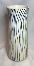 "West Elm Vase Blue Stripes / Wavy Vertical Lines - 8 5/8"" Tall"
