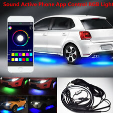 4Pcs RGB LED Neon Car Tube Strip Light Underglow Underbody Music Active App Lamp