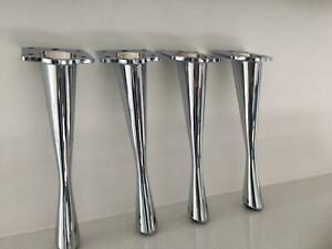 CHROME FURNITURE FEET LEGS FOR SOFA, BEDS, ARMCHAIRS, STOOLS, TABLE PRE DRILLED