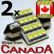 2x COOL WHITE 32mm LED Festoon Dome Light Bulb 16x LED chips - 12v