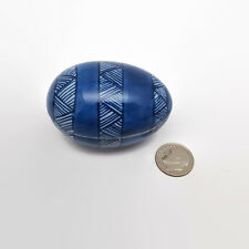 Fitz & Floyd Blue Porcelain Egg Shaped Trinket Box