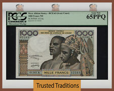TT PK 103Ak ND WEST AFRICAN STATES 1000 FRANCS IVORY COAST EYE POPPER PCGS 65 PQ
