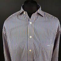 GANT Mens Shirt LARGE Long Sleeve Blue Regular Fit Striped Cotton