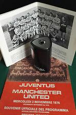 1976-77 Juventus contro Manchester United Coppa UEFA 3-11-76 tabella accendino ordinato