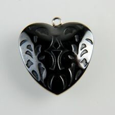 CS56 Carved Heart Hematite Pendant Bead