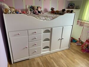 Chartley High Sleeper Cabin bed,  Pull Out Desk, Lots Of Storage, Solid Wood