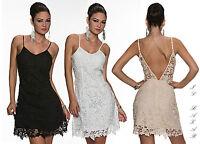 vestito donna mini abito corto pizzo macramè 3 colori bianco,beige,nero tg S;M;L
