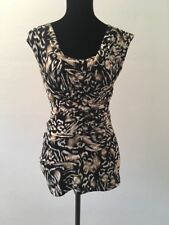 Vince Camuto Women's Top Size XS Black Brown Animal Print Cap Sleeve Cowl Neck