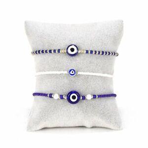 3pcs Luck Evil Eye Blue Beads Bracelet Bangle Women Jewelry Gifts Adjustable
