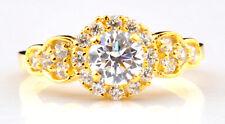 585er Solide Echt Gelb gold 2,50 Carat Rund Form Solitär Hochzeits Ring