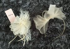 BNWT X2 PRETTY LADIES FASCINATORS / HAIR ACCESSORIES, IN CREAM/GOLD, BY TK MAXX