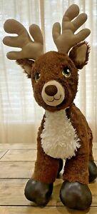 "Build-a-Bear Dark Brown Reindeer Plush Stuffed Animal Approx 19"" Tall Green Eyes"