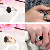New Solid Polished Stainless Steel Band Biker Men Signet Ring Gold Silver 7-12