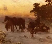 Oil alfred von kowalski wierusz - a journey in winter Horse-drawn sleigh dogs