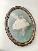 Antique Oval Tiger Wood Frame Convex Bubble Glass 22x16 Baby In Gown