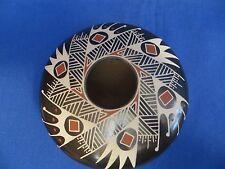 Signed Oscar Quezada Polychrome Fine Geometric 4.5x2.5 Pottery Mata Ortiz Olla