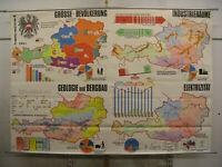 Schulwandkarte Wandkarte Wirtschafts-Karte Österreich 240x166 vintage ~1960