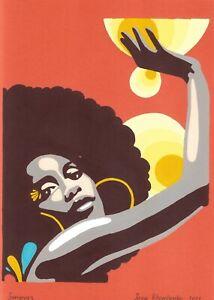 original painting A4 25ХAn Illustration Art samovar acrylic woman An African