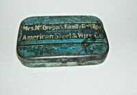 Antique Hinged Tin Box Mrs. McGregor's Family Nail Box American Steel & Wire Co