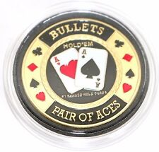 Bullets Pair of Aces Hold'em Poker Coin Chip Card Guard Protector Cover New