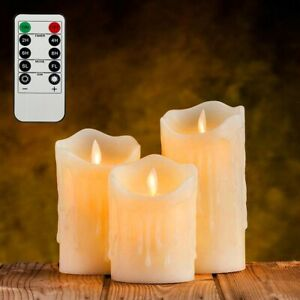 3Pcs Remote Control LED Flameless Candle Tea Light Pillar Battery Powered Easter