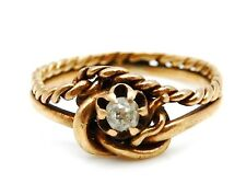 VICTORIAN Solid 14k Yellow Gold / Diamond Child's Ring Size 1
