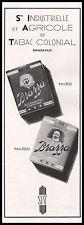 Publicité Tabac Colonial Cigarettes BRAZZA BRAZZAVILLE Tobacco vintage ad 1941
