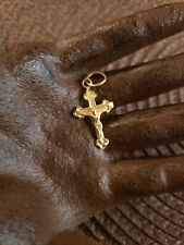 VINTAGE 14K GOLD RELIGIOUS CRUCIFIX CROSS PENDANT CATHOLIC