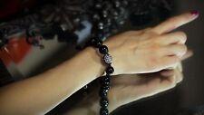 Bracelet Shamballa Disco Boule de Strass Qualité Perle Noir a la Main CT3 Fil