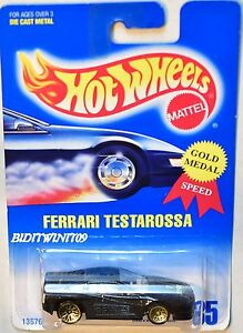 HOT WHEELS 1991 BLUE CARD FERRARI TESTAROSSA BLACK W/ WIRE WHEELS
