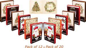 12 / 20 Christmas Xmas Luxury Greeting Cards Pack