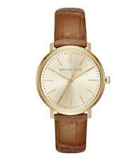 Michael Kors Womens Jaryn Rose Gold Tone Brown Leather Wrist Watch MK2496