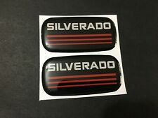 2x New Custom Epoxy Resin Silverado Emblem Pillar Cab Badge Red