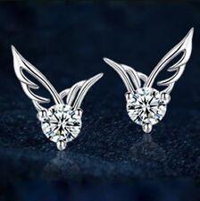 18K White Gold GP Austrian Crystal Lady butterfly Earrings Studs E430a