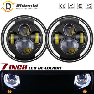 For Freightliner FLD112 96-03 Century Class 96-11 7inch Round Halo LED Headlight