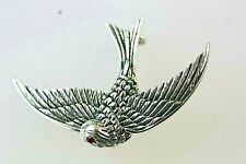 Swift Bird Brooch Sterling Silver Vintage Style with Ruby eyes