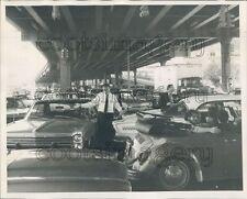1970 Cars in Traffic Jam Under Overpass 1970s New York City Press Photo