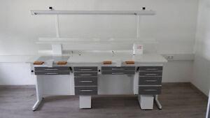 ILK-Dental Doppel Arbeitsplatz dunkel grau Labortisch, Dentalmöbel, Zahntechnik