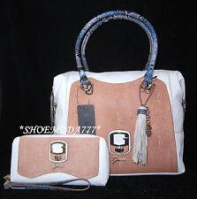 GUESS Azadeh Box Satchel Bag Purse Handbag Zip Around Wallet Wristlet Set Tassel